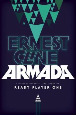 Armada by Ernest Cline Book Cover - black background with a fleet of green triangle spaceships at the top and 6 tiny white triangle ships at the bottom