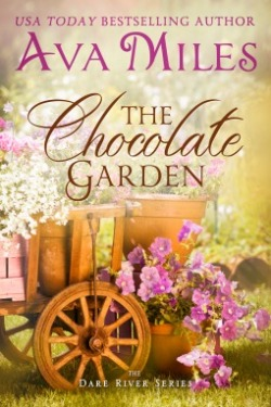 Book cover with garden pots of flowers sitting on a wagon and on the grass - with text