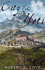 Book cover with walled city at the base of a mountain with plains in front of it & text