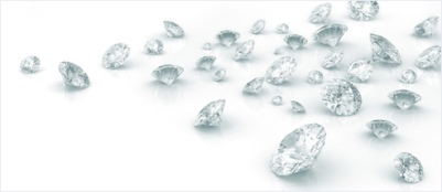 scattered grouping of diamonds - heavier on the right than the left