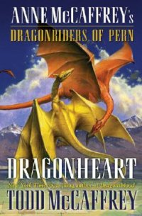 Dragonheart by Todd McCaffrey book cover - Gold and bronze dragons flying around each other with a background of mountains