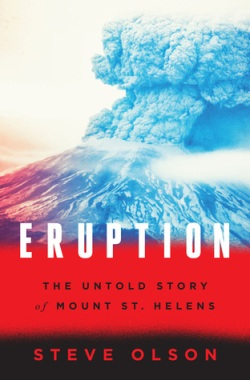 Book cover with volcano spewing ash