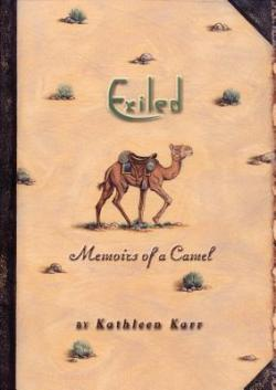 Book cover with desert sand, scrub brush, camel, and text
