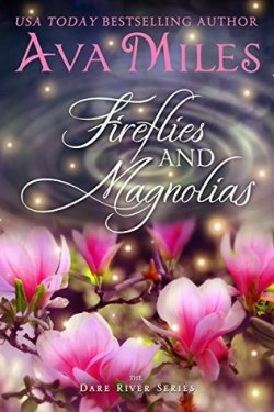 Fireflies & Magnolias by Ava Miles book cover - Dark background with fireflies and pink magnolia blossoms