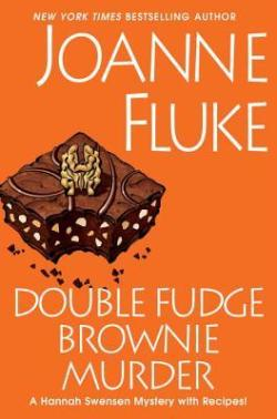 Double Fudge Brownie Murder by Joanne Fluke book cover - orange background with brownie with nuts on it