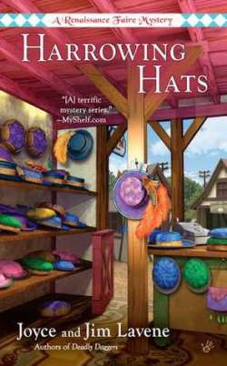 Harrowing Hats book cover - Outside shop stall featuring hats on shelves and counter