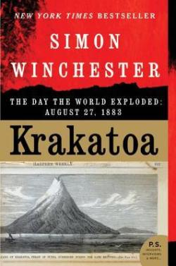 Krakatoa: The Day the World Exploded: August 27, 1883 book cover - red background with drawing of Krakatoa before it erupted