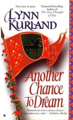 Another Chance to Dream by Lynn Kurland book cover - Red heraldry flag with black coat of arms
