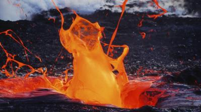 Lava spurting up from the ground