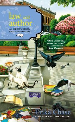 Law & Author book cover - library courtyard with books scattered all over, a crow and another bird flying, and two siamese cats