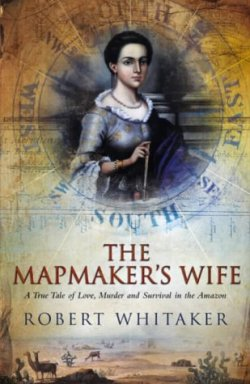 The Mapmaker's Wife book cover - portrait of Isabel Grameson on a compass background - small desert scene with sand and vicunas at the bottom