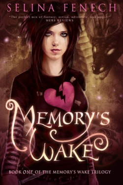 Memory's Wake book cover - Memory with black hair that has pink tips, dressed in her broken heart tshirt - Silhouette of a dragon in the background