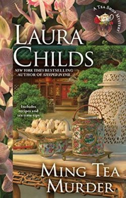 Ming Tea Murder by Laura Childs book cover - Chinese-style home in the background with a Chinese-style table and tea service in foreground