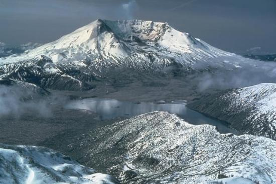 Photograph of Mt. St. Helens after 1981 eruption