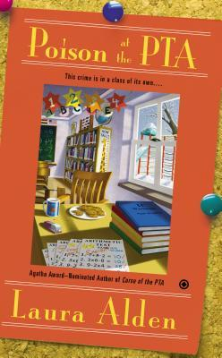 Poison at the PTA book cover - Orange background - Classroom scene with a plate of cookies and a coffee mug on desk
