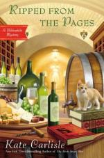 Ripped from the Pages book cover - Winery tasting room with wine bottle cubbies along the sides, bottles of wine on a countertop along with a cheese platter, books, and a small orange & white kitten