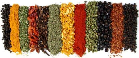 Photographed line of various spices - author not sure WHICH spices