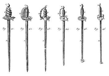 Line illustration of swords