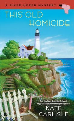 This Old Homicide book cover - Light house with attached house on a cliff in the background, broken white fence in the foreground