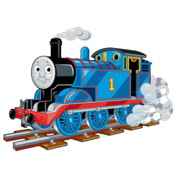 Graphic illustration of Thomas the Tank Engine riding on rails - Blue tanks steam engine with #1 painted on the side