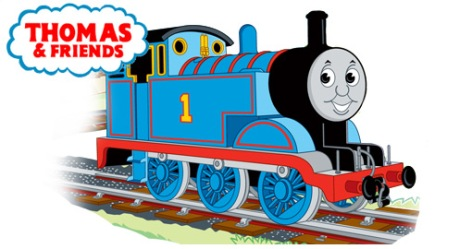 Graphic Illustration of Thomas the Tank Engine and the Thomas & Friends logo - Logo has read words in a blue-outlined cloud. Thomas is a blue tank steam engine sitting on railroad tracks and has #1 painted on his side.