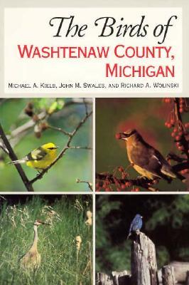 The Birds of Washtenaw County book cover - photos of four types of birds on cover, Cedar Waxwing, Sandhill Crane, Blue bird, and possibly a gold finch