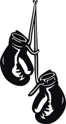 Black and white clipart of a pair of boxing gloves hanging from a nail