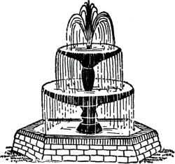Black & White clipart of a 3-tier fountain with a brick base