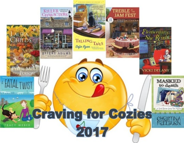 Smiley face licking lips with fork and knife surrounded by cozy mysteries