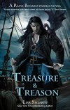Man armed with knife, sword and mini dragon on a ship - Cover of Treasure & Treason