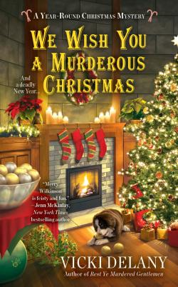 We Wish You a Murderous Christmas - Year Round Christmas Mystery - Room with Christmas tree in right corner, fireplace with stockings hanging, and dog lying on the floor.