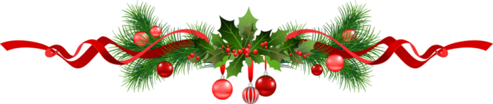 Christmas line with evergreen boughs, holly, red ornaments and a red ribbon