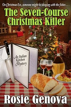 Book cover w/ Christmas tree, pasta, wine, knife and title
