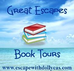 Great Escapes Book Tours - www.escapewithdollycas.com - Background of sea and sky with a stack of books in the center of the banner
