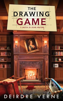 The Drawing Game: A Sketch in Crime Mystery by Deirdre Verne book cover - formal library setting on cover - fireplace in the middle of the bookshelves - portrait hanging crooked on fireplace, chairs overturned and blood staining carpet in fr
