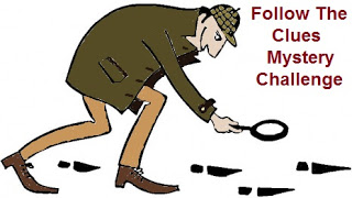 Detective following Footprints with text Follow the Clues Mystery Challenge