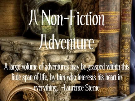 Marble pedestal, old books and text - A Non-fiction Adventure