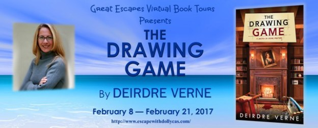 Large banner - Great Escape Virtual Book Tours Presents The Drawing Game by Deirdre Verne - February 8 - February 21, 2017 - Picture of book cover - wooden built-in wall book shelves with a fireplace in the middle - portrait over fireplace hanging crooked & chairs overturned. - Photo of author - Middle aged white woman with shoulder length brown hair with blond highlights, wearing glasses & a blue turtleneck