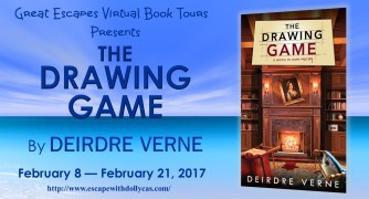 Medium banner - Great Escapes Virtual Book Tours presents: The Drawing Game by Deirdre Verne, February 8 - February 21, 2017; Book cover on the banner - The Drawing Game: A Sketch-in-Crime Mystery Deirdre Verne; Private library setting with a fireplace between the bookshelves. Portrait hanging crooked; chairs overturned and blood on the rug