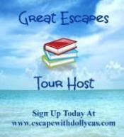 Great Escapes Tour Host - www.escapewithdollycas.com - Background of sea and sky with a stack of books in the center of the banner