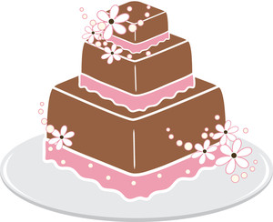 pink and brown frosted 3 layer square cake with white flowers and round white beads as decoration