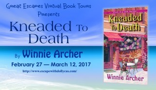 Small Tour Banner - Great Escapes Virtual Book Tours Presents: Kneaded to Death by Winnie Archer: February 27-March 12, 2017 - Book cover included