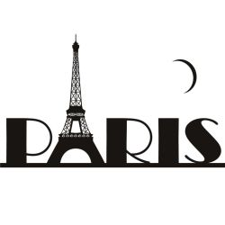 "Paris spelled with the Eiffel Tower as the ""A"" and a crescent moon above"