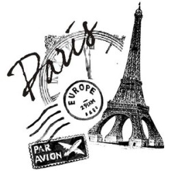 Paris air mail stamp, postmark, eiffel tower & silhouette of a clock