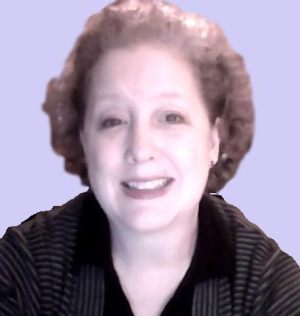 Teresa Trent, author - Middle aged white woman with medium brown hair, no glasses, wearing a black and grey striped shirt
