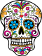Mexican Day of the dead sugar skull with hot pink, neon blue, and orange flowers