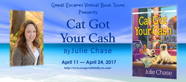 Large Banner: Great Escapes Virtual Book Tours Presents Cat Got Your Cash by Julie Chase - April 11-April 24, 2017 - Contains a picture of the author and the book cover as well