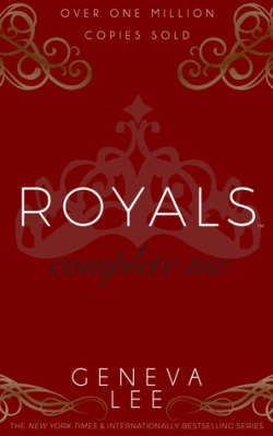 Royals: Complete Me by Geneva Lee - Red background with gold curly-ques in the corners and a silhouette of a crown in the center