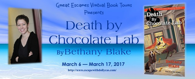 Banner: Great Escapes Virtual Book Tours Presents Death by Chocolate Lab by Bethany Blake - March 6-March 17, 2017 - Banner includes photo of the author and the book cover