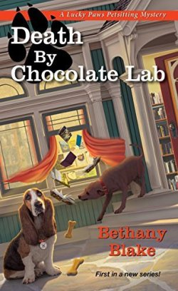 Book Cover: A Lucky Paws Petsitting Mystery: Death by Chocolate Lab by Bethany Blake - sidewalk outside a bookstore - books flying out the window and a brown labrador sniffing at them - basset hound looking on